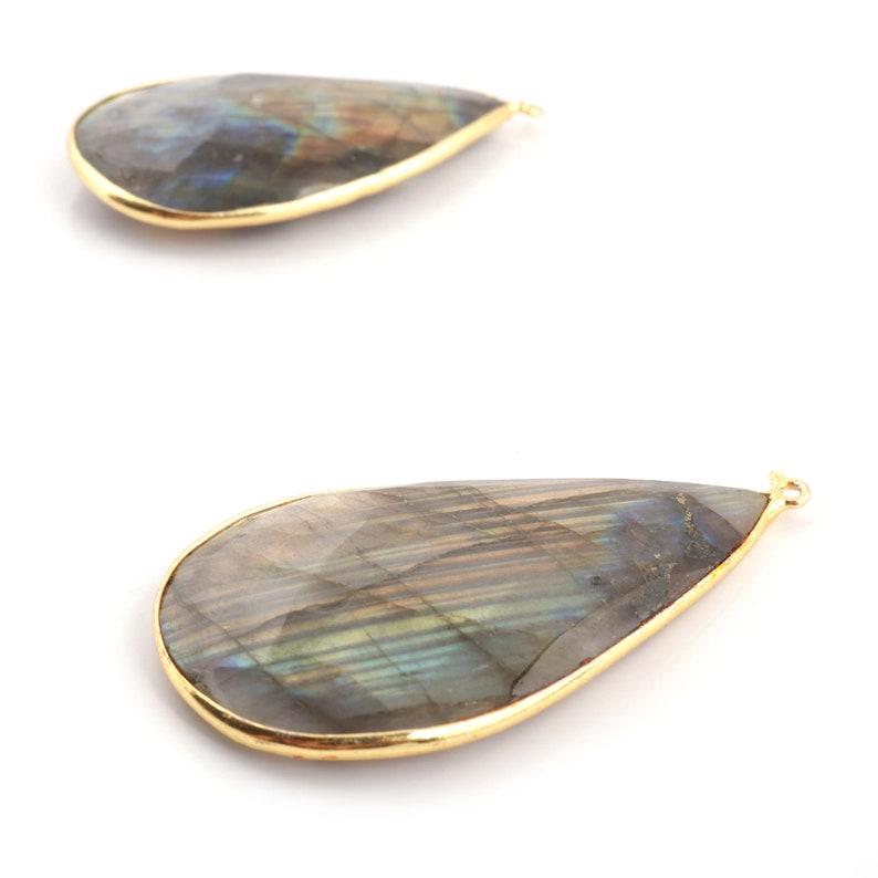 2 Pcs 24k Gold Plated Labradorite Gemstone Pendant Pear Shape Pendant 57mmx28mm GBC047 51mmx28mm