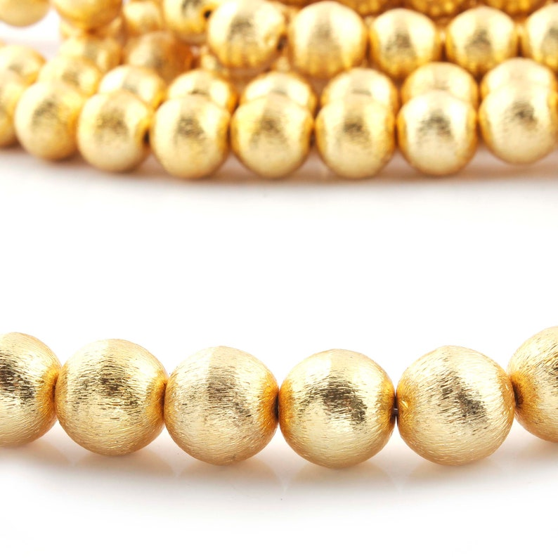 12mm 8 Inches Brush Ball Beads 2 Strands 24k Gold Plated Copper Round Beads Jewelry Making Tools CJ065