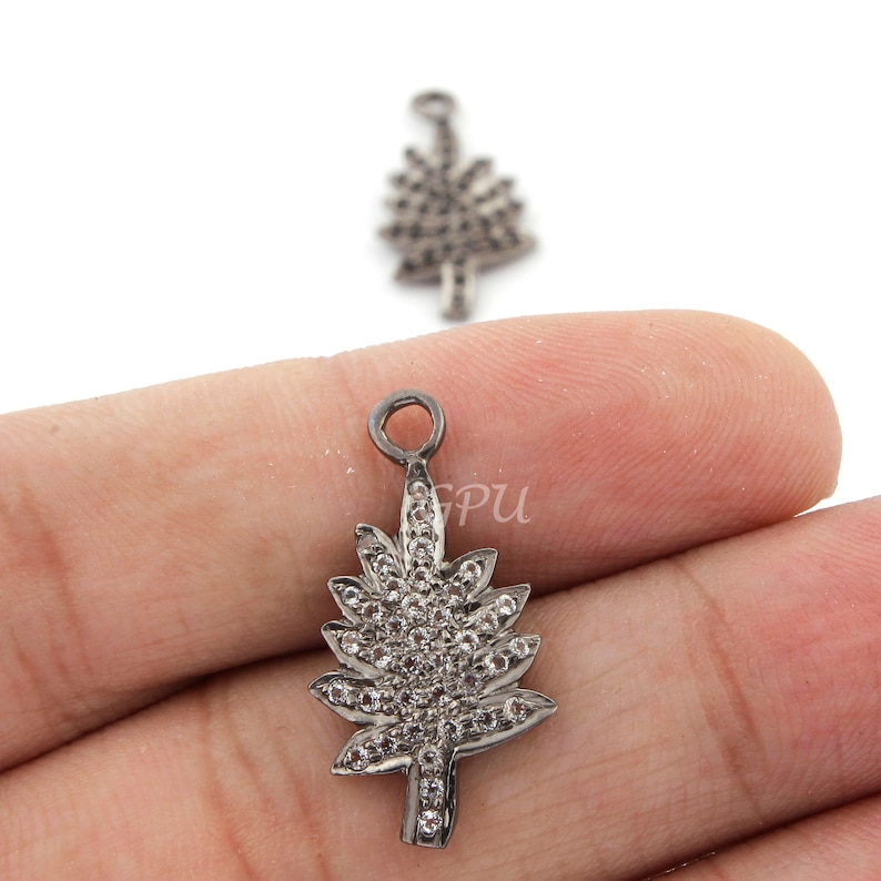 925 Sterling Silver Pendant WT001 1 Piece White Topaz /& Black Spinel Tree Charm Pendant 24mmx12mm,You Choose