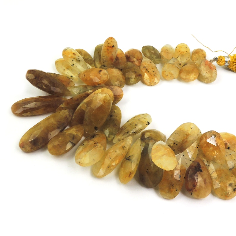 1 Strand Golden Rutile Faceted Briolettes 8 Inches  17mmx7mm-35mmx11mm Jewelry Making SPB429 Pear Drop Center Drilled Beads