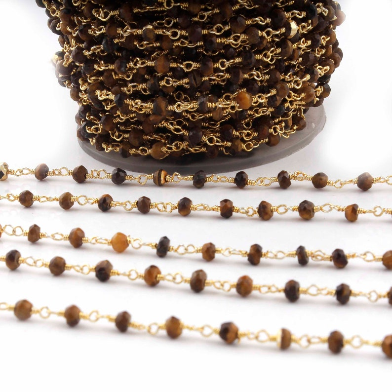 5 Feet Brown Tiger Eye  3mm-3.5mm Chain RC126 Gold Plated Wire Wrapped Rosary Beaded Chain