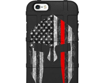 CUSTOM PRINTED Limited Edition - Authentic Made in U.S.A. Magpul Field Case, Fireman, First Responder Subdued US Flag Thin Red Line Spartan