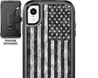 CUSTOM PRINTED Limited Edition Pelican Shield Kevlar Carbon Fiber Case with Holster - US Camo Subdued Flag Design