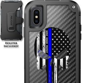 CUSTOM PRINTED Limited Edition Pelican Shield Kevlar Carbon Fiber Case with Holster - Serve Honor Protect Thin Blue Line Punisher Design