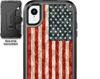 CUSTOM PRINTED Limited Edition Pelican Shield Kevlar Carbon Fiber Case with Holster - US Camo Color Flag Design
