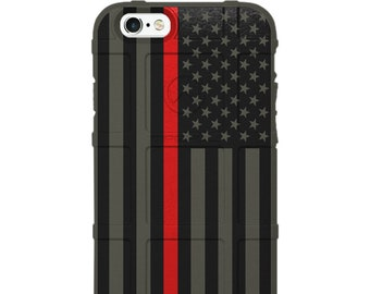 CUSTOM PRINTED Limited Edition - Authentic Made in U.S.A. Magpul Industries Field Case, US Flag Subdued Thin Red Line - Firefighters -usf
