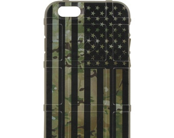 Custom Printed Limited Edition - Authentic Made in U.S.A. Magpul Industries Case, Multicam OCP / Scorpion Camouflage, Subdued US Flag