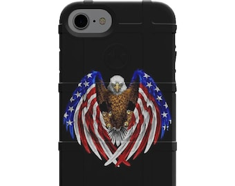 CUSTOM PRINTED Limited Edition - Authentic Made in U.S.A. Magpul Industries Field or Bump Case, American Eagle U.S. Flag Circle Design