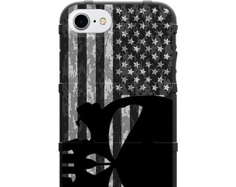 CUSTOM PRINTED Limited Edition -  Black Punisher Sideways Subdued USA Flag Digi Camo