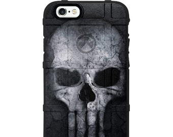 Custom Printed Limited Edition -  White Ghost Skull on Black Long Tooth USA Overlay
