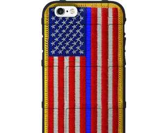 CUSTOM PRINTED Limited Edition - Authentic Made in U.S.A. Magpul Industries Field Case, USA Flag Patch Assaulting Forward Thin Blue Line