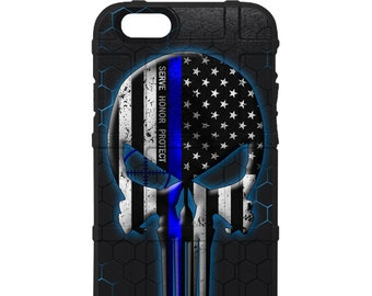CUSTOM PRINTED Limited Edition - Serve Honor Protect - Thin Blue Line Punisher on HEX Background
