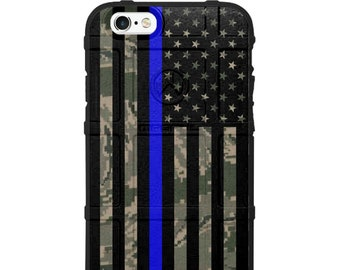 CUSTOM PRINTED Limited Edition - Authentic Made in U.S.A. Magpul Industries Field Case, Subdued USA Thin Blue Line Flag on Various Camo