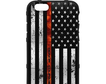 CUSTOM PRINTED Limited Edition - Authentic Made in U.S.A. Magpul Industries Field Case, US Flag Thin Red Realfire Line Honor Courage Valor