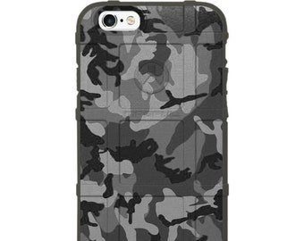 CUSTOM PRINTED Limited Edition - Authentic Made in U.S.A. Magpul, UAG, or Pelican Black Grey Subdued Woodlands Camouflage Print