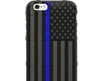CUSTOM PRINTED Limited Edition - Authentic Made in U.S.A. Magpul Industries Field Case, US Flag Subdued Thin Blue Line, Police Officers