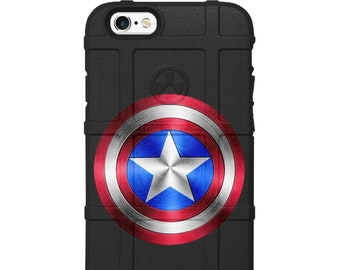CUSTOM PRINTED Limited Edition - Authentic Made in U.S.A. Magpul Industries Field Case, Captain America Shield