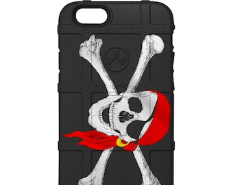 CUSTOM PRINTED Limited Edition - Authentic Made in U.S.A. Magpul Industries Field or Bump Case, Jolly Roger Pirate Flag US Navy (bjr2)