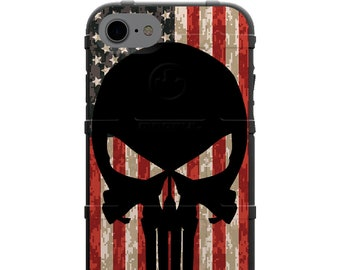 CUSTOM PRINTED Limited Edition - Authentic Made in U.S.A. Magpul Industries Field Case, Black Punisher on Reversed USA Flag on Digi Camo