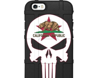CUSTOM PRINTED Limited Edition - Authentic Made in U.S.A. Magpul, UAG or Pelican, California Republic Punisher Red or Black/White Bear Star