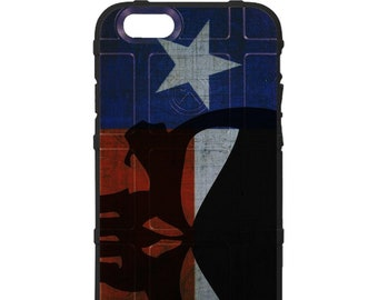 CUSTOM PRINTED Limited Edition - Authentic Made in U.S.A. Magpul Industries Field Case, Weathered Texas State Flag, Punisher Sideways