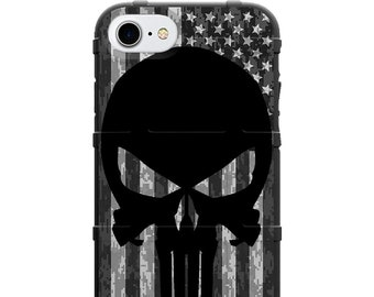 CUSTOM PRINTED Limited Edition -  Black Punisher on Subdued USA Flag on Digi Camo