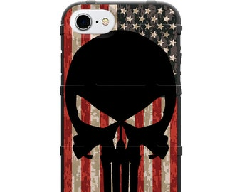 CUSTOM PRINTED Limited Edition -  Black Punisher on American USA Flag on Digi Camo