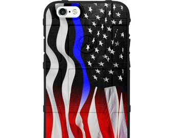 Custom UV Printed Limited Edition - Authentic Made in U.S.A. Magpul Field, UAG or Pelican Waving Old Glory Thin Blue Line/Thin Red Line Fade