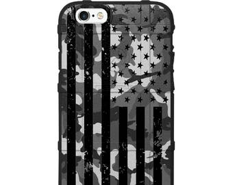 CUSTOM PRINTED Limited Edition - Authentic Made in U.S.A. Magpul Industries Field Case, Subdued Tattered US Flag on Black Ops Woodland Camo