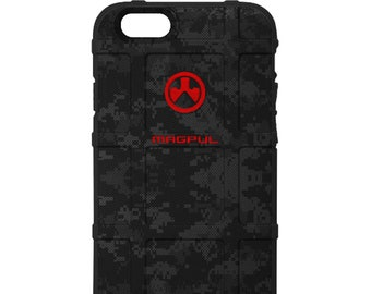 CUSTOM PRINTED Limited Edition - Authentic Made in U.S.A. Magpul Industries Field or Bump Case, Magpul Red Logo Black Camouflage Print