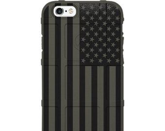 CUSTOM PRINTED Limited Edition - Authentic Made in U.S.A. Magpul Industries Field Case, Subdued Black Printed US Flag -uso