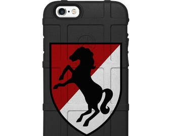Custom Printed, Limited Edition - Authentic Made in U.S.A. Magpul Industries Field or Bump Case, U.S. Army 11th Armored Cavalry Patch