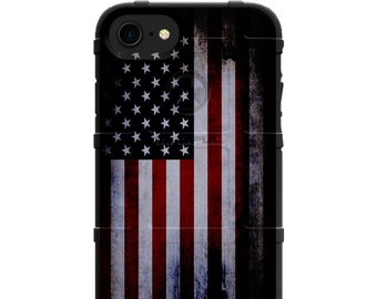 Custom UV Printed Limited Edition Authentic Made in U.S.A. Magpul Field, UAG, or Pelican Waving Old Glory, Red White Blue Tattered US Flag