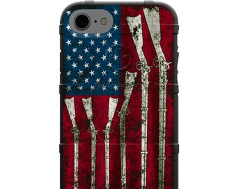 Authentic Made in U.S.A. Magpul, Urban Armor Gear, Pelican Custom Printed Limited Edition Case, US Red White and Blue Rifles Weathered Flag