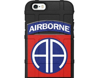 CUSTOM PRINTED Limited Edition - Authentic Made in U.S.A. Magpul Industries Field Case, US Army 82nd Airborne Division Patch Red/Blue