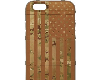 Custom Printed Limited Edition - Authentic Made in U.S.A. Magpul Industries Case, Multicam / Scorpion Camouflage, Gold Subdued US Flag -mcsg