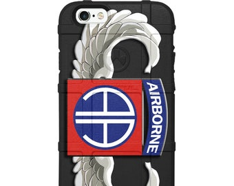 Custom UV-Laser Printed Limited Edition US Army 82nd Airborne Division Patch Red/Blue Winged Warrior Case