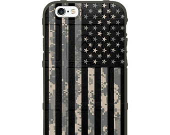Custom Printed Limited Edition - Authentic Made in U.S.A. Magpul Industries Case, ACU Army Digital Camouflage, Subdued US Flag