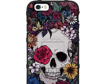 Custom Printed Limited Edition - Authentic Made in U.S.A. Magpul Industries Field Case, Colorful Flowers over Skull Case