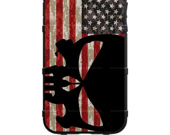 CUSTOM PRINTED Limited Edition - Authentic Made in U.S.A. Magpul Industries Field Case, Black Punisher Sideways on USA Flag on Digi Camo