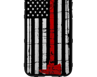 CUSTOM PRINTED Limited Edition - Authentic Made in U.S.A. Magpul Industries Field Case, US Flag Thin Red Line Fireman's Axe Case