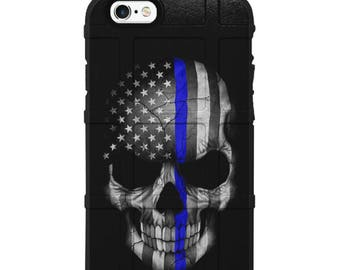 CUSTOM PRINTED Limited Edition - Authentic Made in U.S.A. Magpul Industries Field Case, American Flag Skull Subdued, Thin Blue Line Police