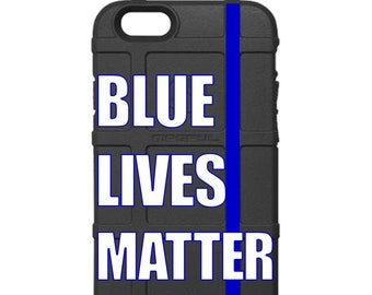 CUSTOM PRINTED Limited Edition - Made in U.S.A. Magpul Industries Field Case, Blue Lives Matter, Thin Blue Line, Police Lives Matter