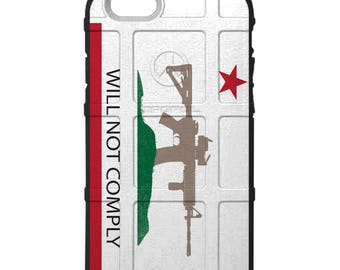 CUSTOM PRINTED Limited Edition - Authentic Made in U.S.A. Magpul Industries Field Case, California Will Not Comply Flag, 2A Gun Control