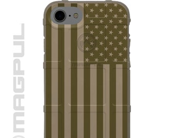 CUSTOM PRINTED Limited Edition - Authentic Made in U.S.A. Magpul Industries Field Case, Olive Drab Green on Field Dark Earth Printed US Flag