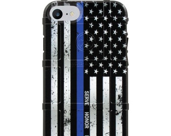 CUSTOM PRINTED Limited Edition -  Serve Honor Protect - Subdued US Flag Thin Blue Line