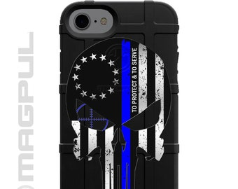 CUSTOM PRINTED Limited Edition - Authentic Made in U.S.A. 13-Star Betsy Ross Subdued US Flag To Protect and To Serve Thin Blue Line Punisher