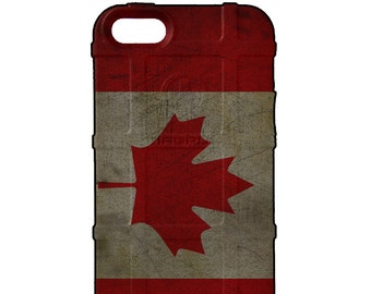CUSTOM PRINTED Limited Edition - Authentic Made in U.S.A. Magpul Industries Field Case, Weathered Canadian Flag