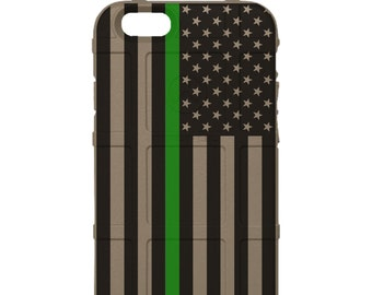 CUSTOM PRINTED Limited Edition -  US Flag Subdued Thin Green Line, Ranger, Game Warden
