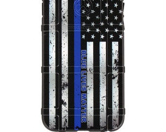 CUSTOM PRINTED Limited Edition - Authentic Made in U.S.A. Magpul Industries Field Case, Blue Lives Matter, US Flag Subdued (blm-flag)